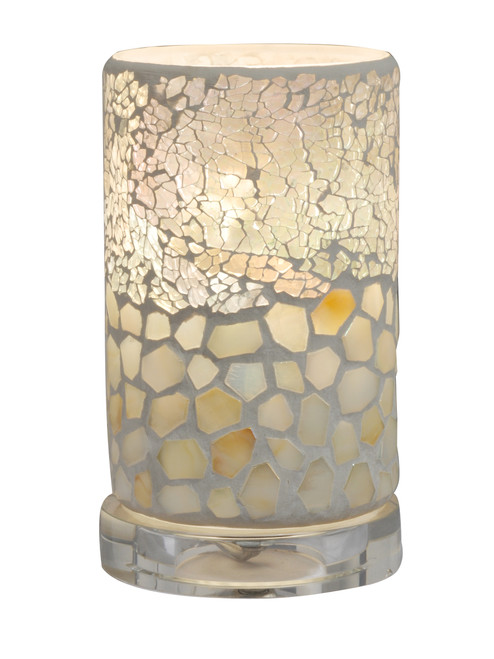 """6.75"""" Soothing Colored Mosaic Pattern Cylindrical Accent Lamp - IMAGE 1"""