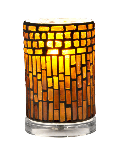 """6.75"""" Vibrantly Colored Tropical Themed Mosaic Pattern Cylindrical Accent Lamp - IMAGE 1"""