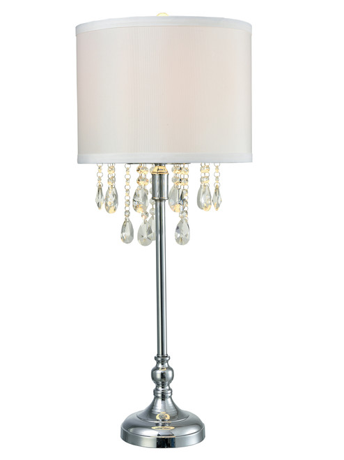 "32.5"" Metallic Silver and Clear Pearl Crystal Accent Table Lamp with Shade - IMAGE 1"