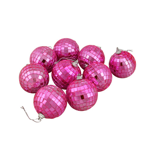 """9ct Hot Pink Mirrored Glass Disco Ball Christmas Ornaments 2.5"""" (60mm) - IMAGE 1"""