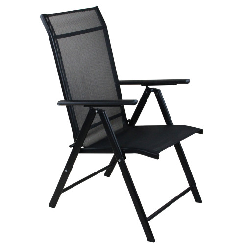 """40"""" Black Steel and Mesh Foldable Reclining Patio Arm Chair - IMAGE 1"""