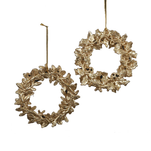 "Club Pack of 24 Gold Glittered Leaf-Style Christmas Ornaments 4.5"" - IMAGE 1"