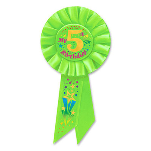 """Pack of 6 Lime Green 'My 5th Birthday' Party Celebration Rosette Ribbons 7.75"""" - IMAGE 1"""