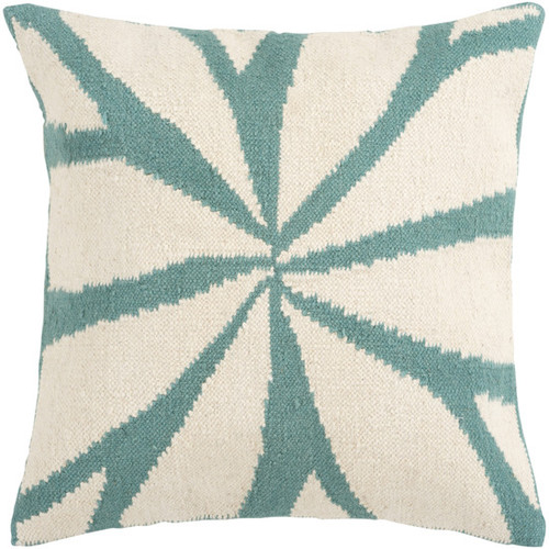"""18"""" Turquoise and Antique White Asterid Decorative Down Throw Pillow - IMAGE 1"""