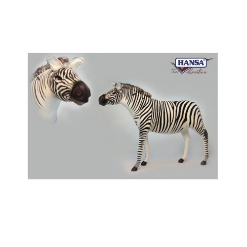 "57"" Handcrafted Black and White Plush Standing Zebra Jacquard Stuffed Animal - IMAGE 1"