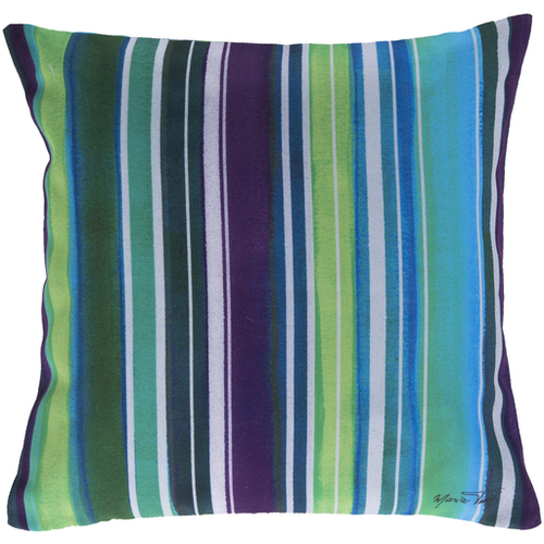 """18"""" Blue and Green Nautical Striped Square Outdoor Throw Pillow - IMAGE 1"""