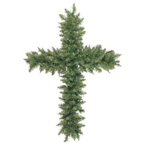 """22"""" Green Pine Artificial Cross Shape Wreath with Ground Stake - Unlit - IMAGE 1"""