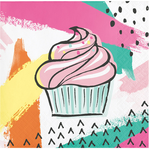 """Pack of 192 Green and Pink Chic Cupcake Printed Disposable Party Beverage Napkins 5"""" - IMAGE 1"""