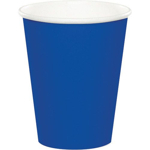 Club Pack of 240 Cobalt Blue Disposable Paper Drinking Party Tumbler Cups 9oz. - IMAGE 1