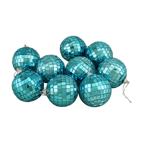 "9ct Peacock Blue Mirrored Glass Disco Ball Christmas Ornaments 2.5"" (60mm) - IMAGE 1"