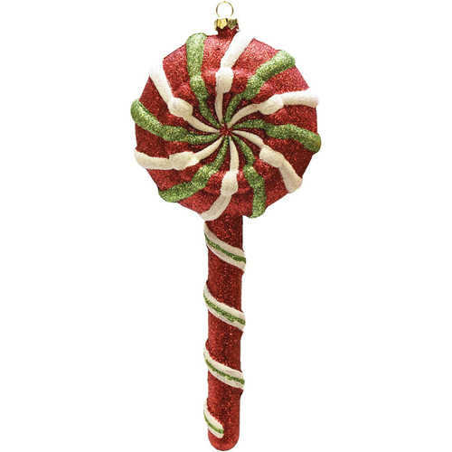 "9"" Glittered Red and Green 2-Finish Shatterproof Lollipop Christmas Ornament - IMAGE 1"