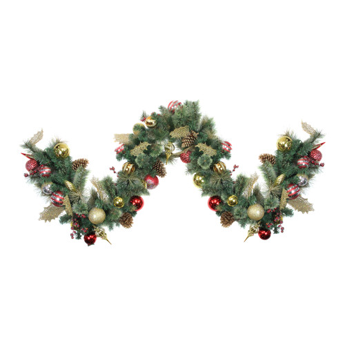 "9' X 16"" Artificial Pine With Cranberries, Ornaments, and Pine Cones Christmas Garland – Unlit - IMAGE 1"