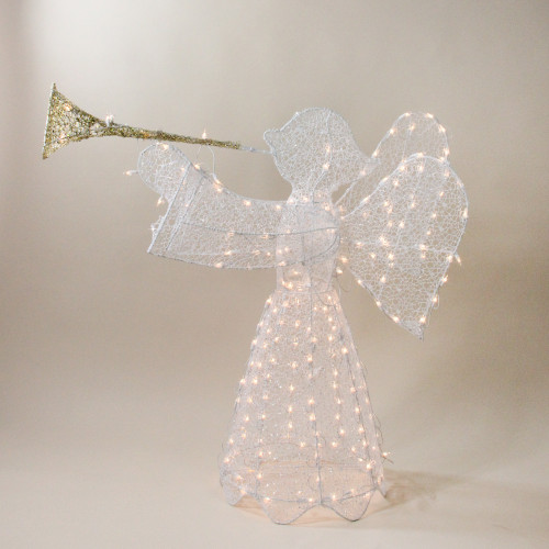 """44"""" White and Clear 3D Pre-Lit Trumpeting Angel Outdoor Christmas Yard Decor - IMAGE 1"""