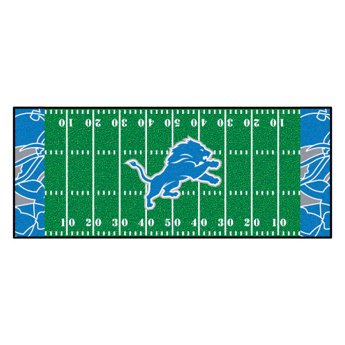 2.5' x 6' Blue and Green NFL Detroit Lions X-Fit Football Field Rectangular Area Rug Runner - IMAGE 1