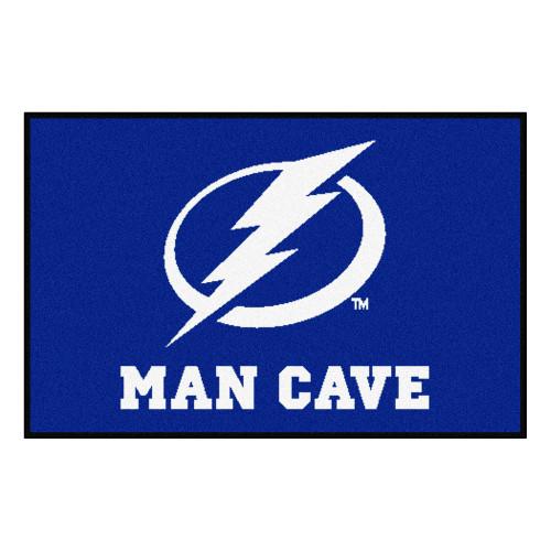 """19""""x 30"""" Blue and White NHL Tampa Bay Lightning Man Cave Starter Rectangular Door Mat - IMAGE 1"""