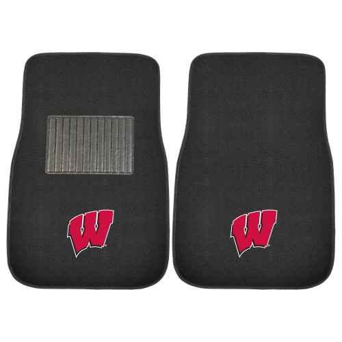 "Set of 2 Black and Red NCAA University of Wisconsin Badgers Car Mats 17"" x 25.5"" - IMAGE 1"