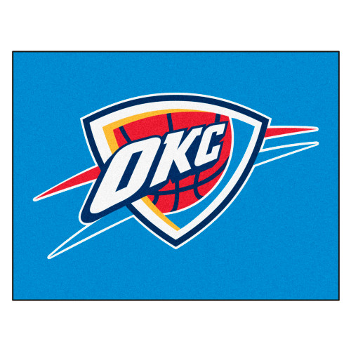 """33.75"""" x 42.5"""" Blue and Red NBA Oklahoma City Thunder Rectangular All-Star Mat Outdoor Area Rug - IMAGE 1"""