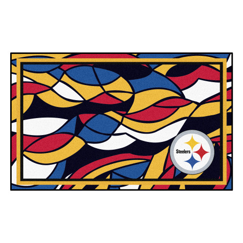 4' x 6' Vibrantly Colored NFL Pittsburgh Steelers Foot Plush Non-Skid Mat - IMAGE 1