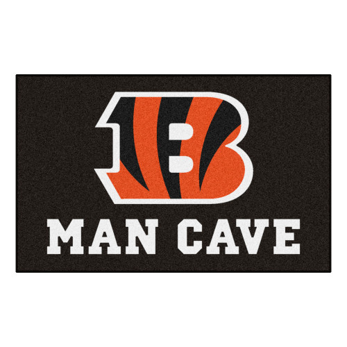 "59.5"" x 94.5"" Black and Red NFL Cincinnati Bengals ""Man Cave"" Ultimate Rectangular Mat Area Rug - IMAGE 1"