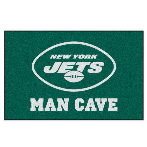"""19"""" x 30"""" Green and White NFL New York Jets Man Cave Starter Rectangular Mat Area Rug - IMAGE 1"""