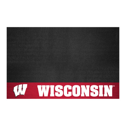 "26"" x 42"" Black NCAA Badgers Grill Mat Tailgate Accessory - IMAGE 1"