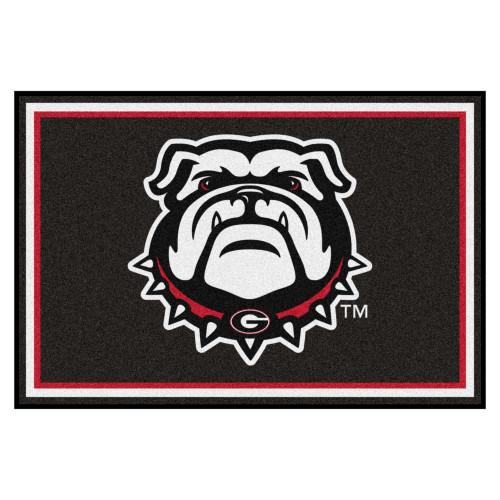 5' x 8' Black and Red NCAA University of Georgia Bulldogs Plush Non-Skid Area Rug - IMAGE 1