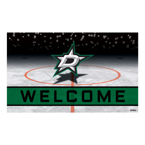 """18"""" x 30"""" Green and White NHL Dallas Stars Heavy Duty Outdoor Door Mat - IMAGE 1"""