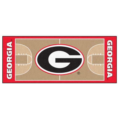 "30"" x 72"" Red and Black University of Georgia Bulldogs NCAA Basketball Area Rug Runner - IMAGE 1"