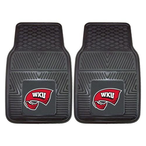 """Set of 2 Black NCAA Western Kentucky University Hill topper Car Mat 27""""x17"""" - IMAGE 1"""