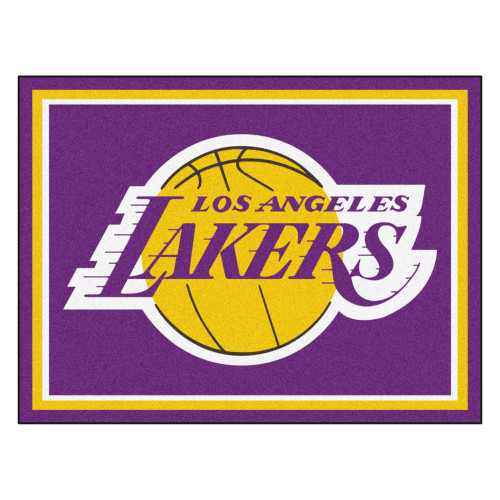 7.25' x 9.75' Purple and Yellow NBA Los Angeles Lakers Plush Non-Skid Area Rug - IMAGE 1