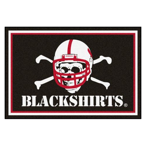 "4.9' x 7.3' White NCAA University of Nebraska ""Blackshirts"" Cornhuskers Ultra Plush Area Rug - IMAGE 1"