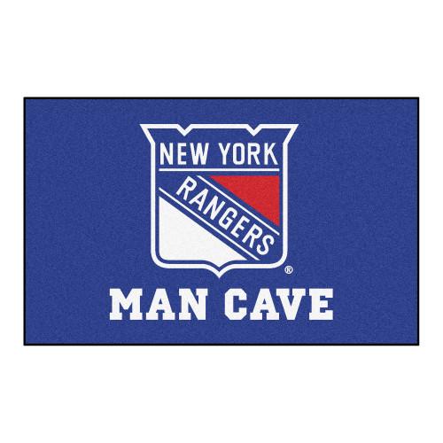 "59.5"" x 94.5"" Blue and White NHL New York Rangers Man Cave Ulti-Mat Rectangular Area Rug - IMAGE 1"