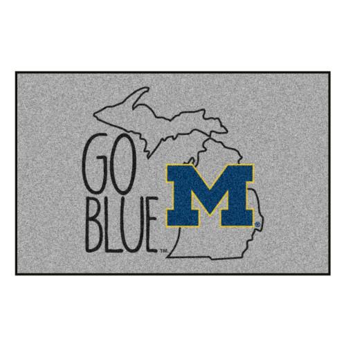"19"" x 30"" Gray and Blue NCAA University of Michigan Wolverines Starter Mat Rectangular Area Rug - IMAGE 1"