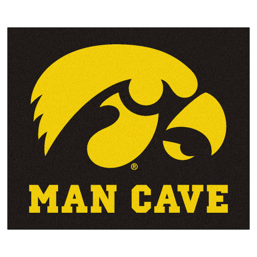 """59.5"""" x 71"""" Yellow and Black NCAA University of Iowa Hawkeyes Man Cave Tailgater Outdoor Area Rug - IMAGE 1"""