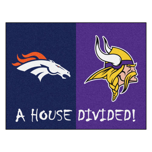 """33.75"""" x 42.5"""" Vibrantly Colored NFL Broncos and Vikings Door Mat - IMAGE 1"""