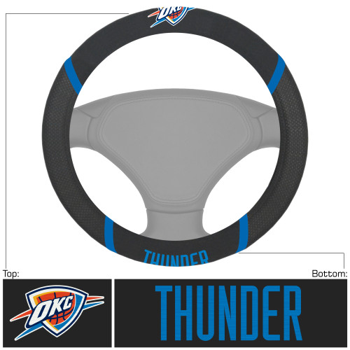 "15"" x 15"" Black and Blue NBA Oklahoma City Thunder Steering Wheel Cover Automotive Accessory - IMAGE 1"