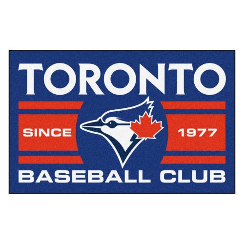 "19"" x 30"" Red and Blue MLB Toronto Blue Jays Starter Mat Rectangular Area Rug - IMAGE 1"