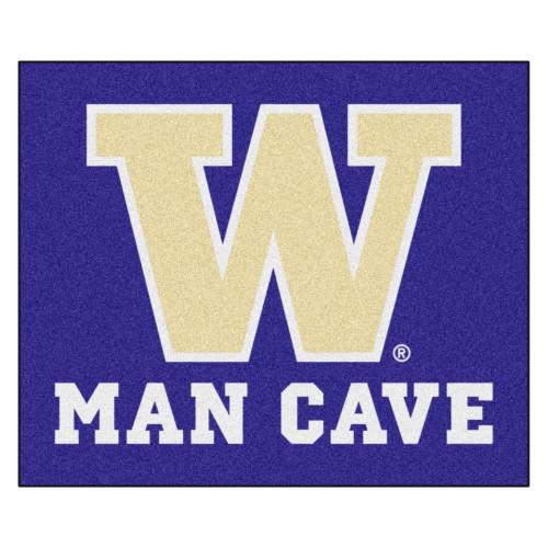 "59.5"" x 71"" Purple and White NCAA University of Washington Huskies Outdoor Tailgater Area Rug - IMAGE 1"