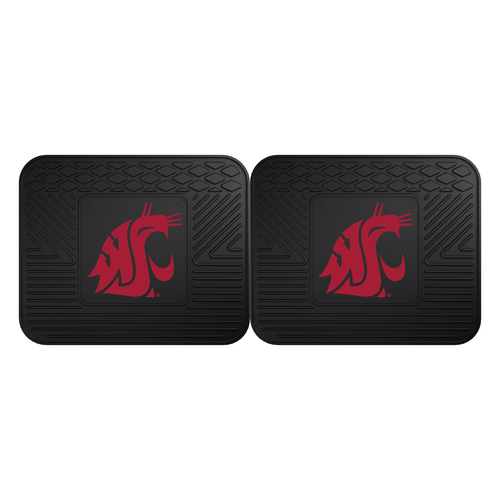 "Set of 2 Black and Red NCAA Washington State University Cougars Car Utility Mats 14"" x 17"" - IMAGE 1"