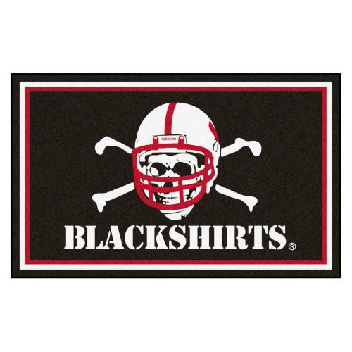 "3.6' x 5.9' White NCAA University of Nebraska ""Blackshirts"" Cornhuskers Ultra Plush Area Rug - IMAGE 1"