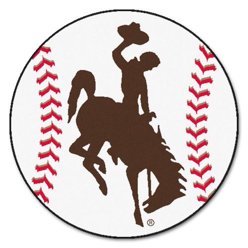 "27"" White and Brown NCAA University of Wyoming Cowboys Baseball Area Rug - IMAGE 1"