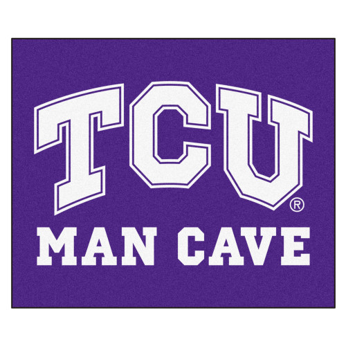 5' x 6' White and Purple NCAA Horned Frogs Man Cave Outdoor Tailgater Rectangular Mat Area Rug - IMAGE 1