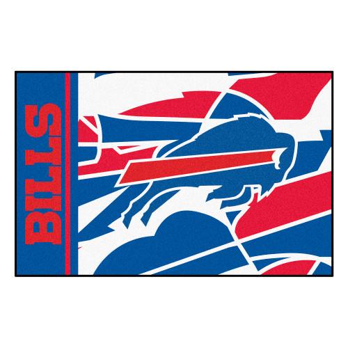 "19"" x 30"" Red and Blue NFL Buffalo Bills Starter Mat Rectangular Area Rug - IMAGE 1"