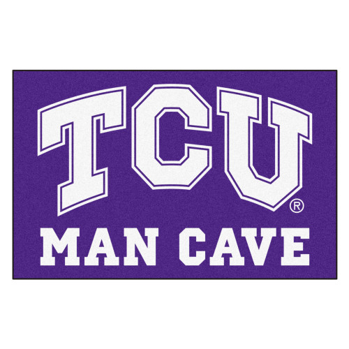 """19"""" x 30"""" White and Purple NCAA Horned Frogs Man Cave Starter Rectangular Mat Area Rug - IMAGE 1"""