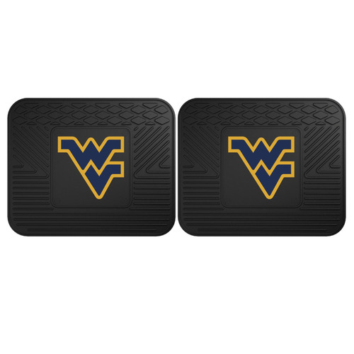 "Set of 2 Black NCAA West Virginia University Mountaineers Heavy Duty Rear Car Floor Mats 14"" x 17"" - IMAGE 1"