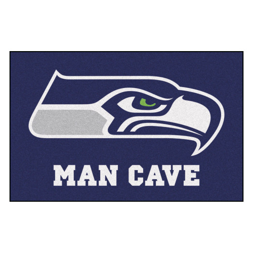 """19"""" x 30"""" Green and White NFL Seahawks Man Cave Starter Rectangular Mat Area Rug - IMAGE 1"""