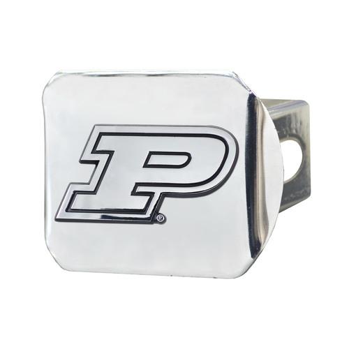 """3.4"""" x 4"""" Silver and Black NCAA Purdue University Boilermakers Hitch Cover - IMAGE 1"""