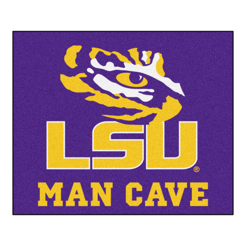 """59.5"""" x 71"""" Yellow NCAA Louisiana State University Tigers Man Cave Tailgater Outdoor Area Rug - IMAGE 1"""