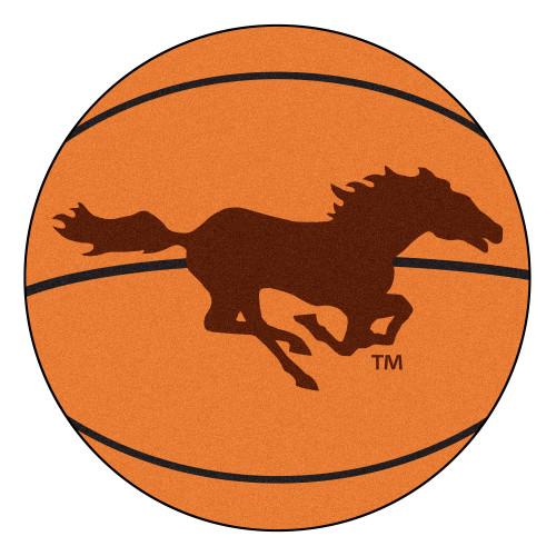 "27"" Orange NCAA Southwest Minnesota State University Mustangs Basketball Round Area Rug - IMAGE 1"