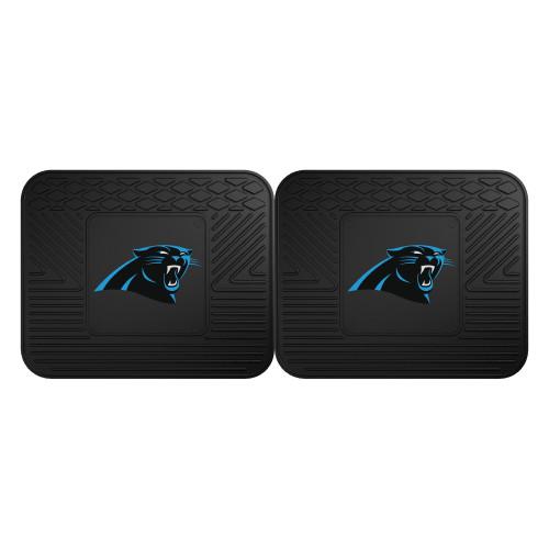 "Set of 2 Black NFL Carolina Panthers Heavy Duty Rear Car Floor Mats 14"" x 17"" - IMAGE 1"